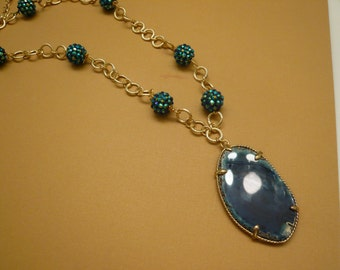 Geode Necklace Agate Necklace Crystal Necklace Beaded Necklace Blue Necklace