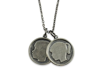 Girl and Boy Silhouette Necklace - Daughter and Son Necklace - Customize for your kids-  Sterling Silver White Bronze
