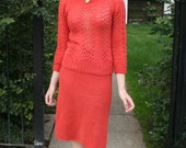 Vintage 1930s Persimmon Orange Knit Sweater Skirt /Two Piece Dress Set