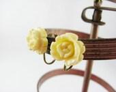 Cream Rose Earrings, Resin Rose Earrings, Small Rose Clip Earrings, Girly Earrings, White Rose Earrings Hippie Earrings Carved Rose Earrings