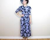 SALE 80s Navy Floral Print Long Sleeve Maxi Dress (S/M)