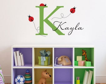 Initial Wall Decal with Ladybugs & Name - Personalized Girl Decal - Girl Bedroom Wall Art - Medium