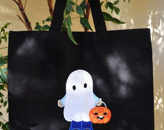 Trick or Treat Bag Canvas Bag Personalized Halloween tote Cute Ghost Girl or Boy Monogrammed Name