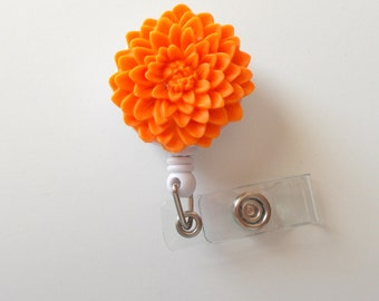 Orange Chrysanthemum Flower  - Name Badge Holder - Retractable ID Badge Reel  - Nurse ID Badge Clip - Flower Badge Holder - RN Badge - Gift
