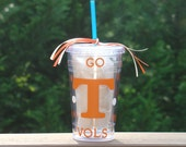 Personalized Tennesse Vols - Insulated cup with large T and polka dots