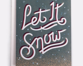 "Let It Snow Holiday Card -  100% Recycled French Paper Speckletone Kraft, Vintage Inspired 4.25"" x 5.5"" A2"