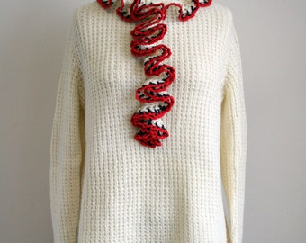 1960s Vintage Women's Sweater - Cream with Navy and Red Ruffle - Cream Crochet Sweater
