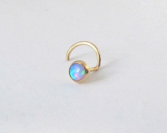 Opal in 14k Solid Gold Nose Stud SPECIAL SALE