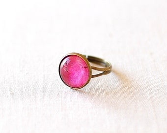 SALE -50% OFF. Ruby Ring. Glass Dome Ring. Adjustable Ring. Raw Ruby Ring.