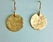 Hammered Sequin Dot Dangle Earrings