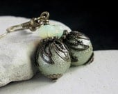 Green Pearl Glass Bead Earrings - A.50