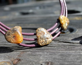 Beach Pebble Necklace Leather Multi Strand Jewelry White Black Oval Amber Organic Jewelry Earthy Color Brown Violet Yellow Rustic for her