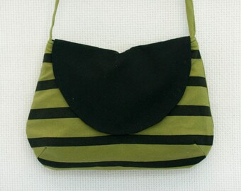 Black Screen Printed Stripes on Green Crossbody Bag, Small Messenger Bag, Small Purse with Black and Green