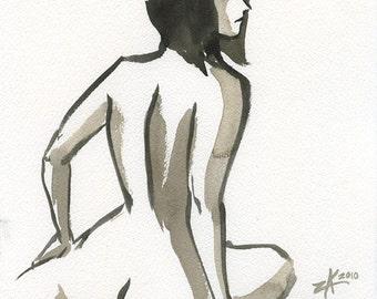 Her Steady Gaze - 7.5 x 10 Brush Painting
