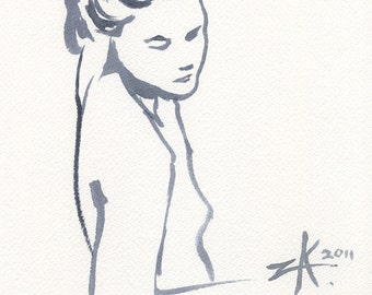 Unspoken Words  - 7.5 x 10 Brush Painting