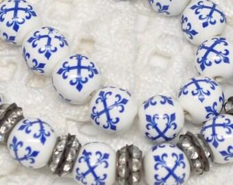 10 mm Porcelain Beads French Blue and White Fleur de Lis Maltese Cross 10 Pieces