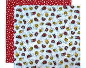 Kids Cloth Napkin, School Lunch Box Napkin, Ladybugs and Bumblebees, 1 double sided fabric napkin