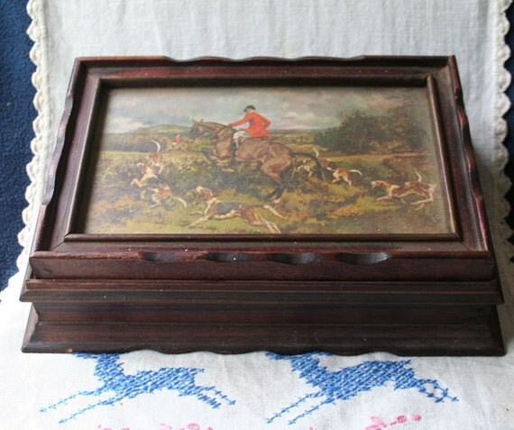 Vintage Fox Hunting Scene Wooden Jewelry Trinket Box Horses
