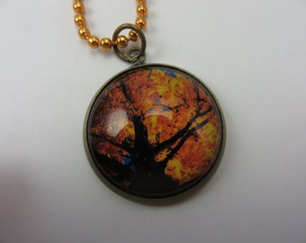 Autumn Tree Necklace Yellow Orange Leaves Glass Photo Pendant Boho Free Shipping