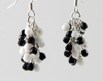 Classic Earrings in Black and White on Silver, Black and White Dangle Earrings, Cascade Earrings