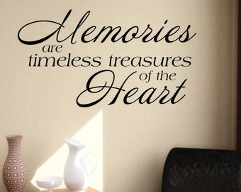 Memories are Treasures, Vinyl Wall Lettering, Vinyl Wall Decals, Vinyl Decals, Vinyl Lettering, Wall Decals, Family Decal, Home Decal