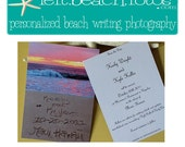 Save the Date Flat Cards with Envelopes - Beach Wedding - Destination Wedding- Personalized Beach Writing Photography