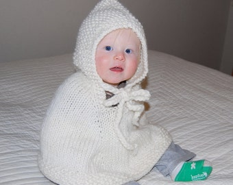 Knit poncho Baby cape Children clothing Handmade poncho with hood Newborn to 18 months  Off white wool Spring fashion Photo Prop Handmade