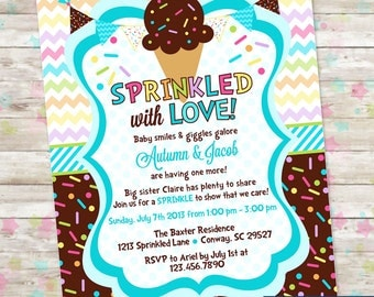 Baby Sprinkle, Ice Cream with Sprinkles, Baby Shower Invitation with Icecream, Baby Boy, Sprinkled with Love Invite