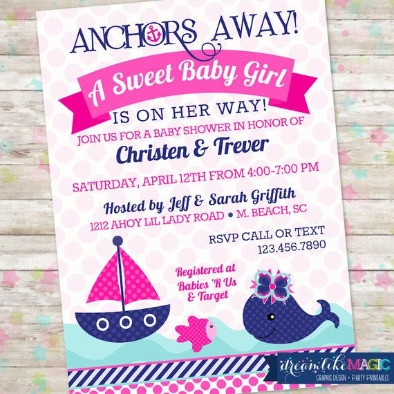 baby shower nautical baby shower anchor baby shower printable girl