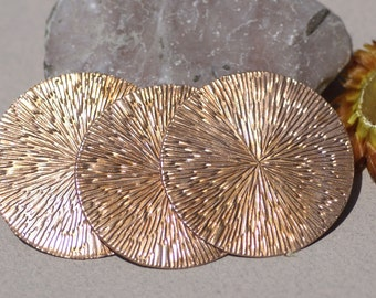 Stamping Blank Disc 42mm with Texture, Jewelry Supplies, Copper Metal 24G - 3 Pieces