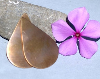 Copper Large Pointed Teardrop 51mm x 34mm 26g Blank Shape for Enameling Stamping Texturing Soldering - 4 pieces