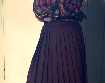 Vintage Brown Wool Pleated Tailored Skirt Size 0