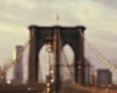 NYC Art, Brown Gold Wall Art- Brooklyn Bridge- New York City Print- Valentine Hearts- New York Photography