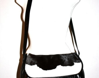 HALSTON Vintage Hobo Handbag Cow Print Black Leather Large Tote - AUTHENTIC -