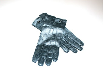 GIANNI VERSACE Vintage Gunmetal Leather Gloves Medusa Snap - AUTHENTIC -