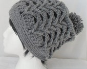 Crochet Hat Slouchy, Crochet Toque, Crochet Chunky Pom Pom Hat, Crochet Men Women Teen Hat, Crochet Beanie, Crochet Winter Hat