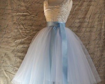 White and baby blue tulle skirt for women.  Ballet glamour. Retro look tulle skirt.