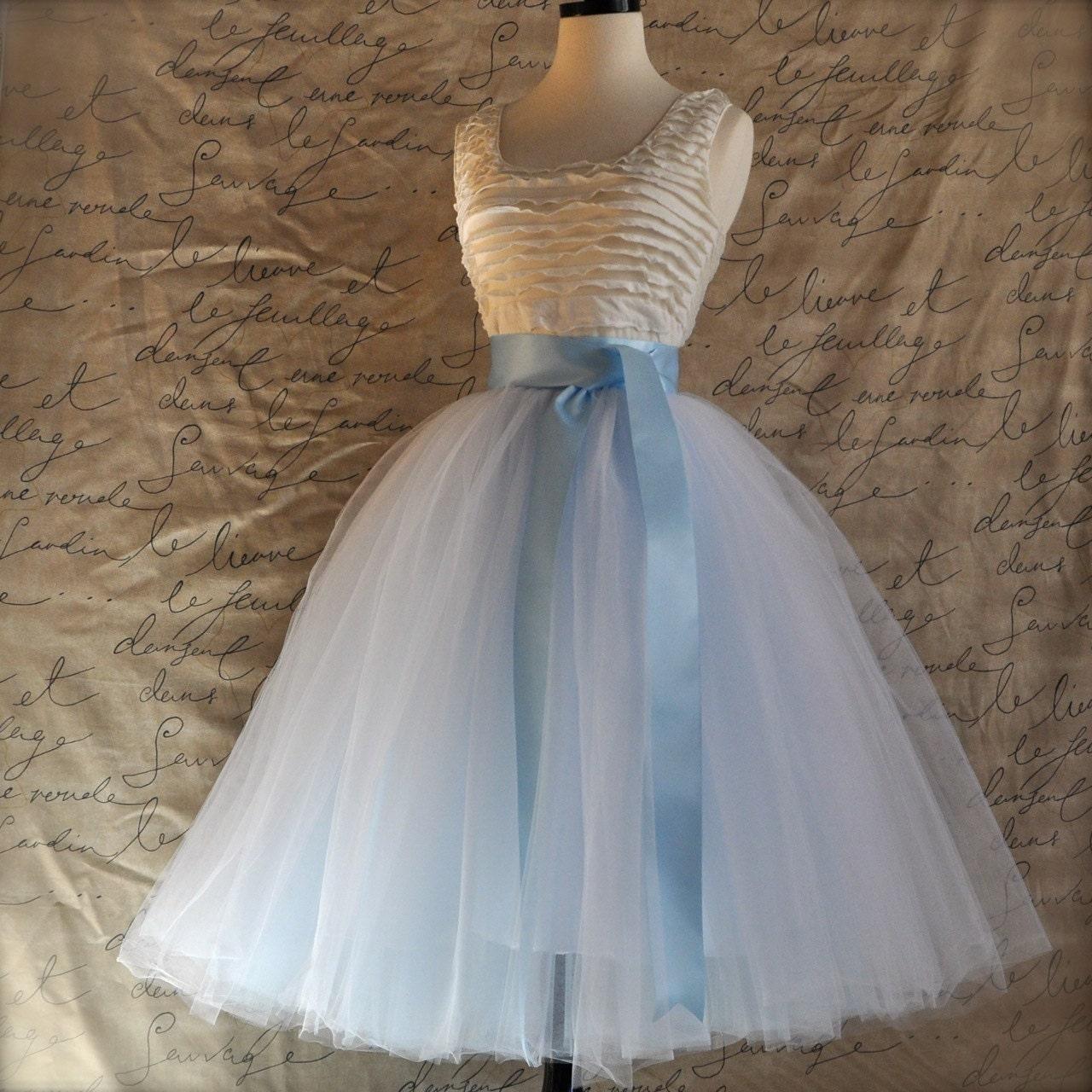 White and baby blue tulle skirt for women Ballet glamour