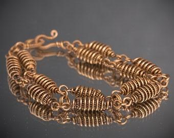 Bronze Wire Wrap Chain Bracelet