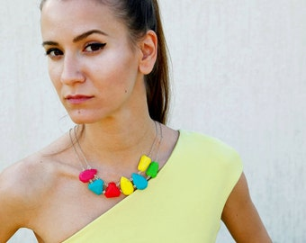 Colorful Bib Statement Necklace, Polymer Clay Necklace, Geometric Necklace, Gem Candy Necklace