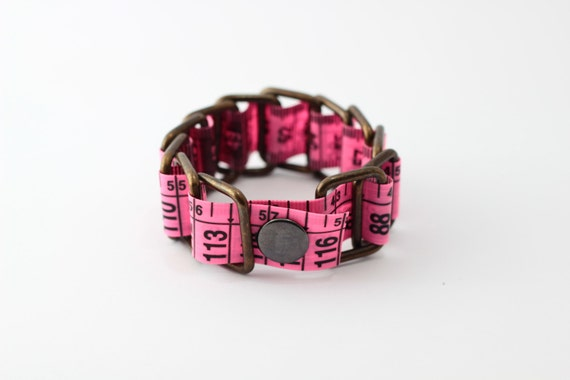 tape measure bracelet fluorescent pink upcycled. Black Bedroom Furniture Sets. Home Design Ideas