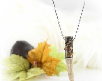 Bullet Necklace, Genuine Antler, Etched Colt 45 Bullet Casing, Antiqued, Sterling Silver Trim