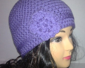 Purple Beanie, Crochet Woman's Hat, Winter Accessories, MADE TO ORDER