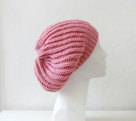 Slouchy Hat, Women Beanie, Pink Beret, Knit Slouchy Hat