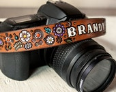 Custom Leather Camera Strap - Floral pattern of Lavender, Turquoise, Yellow, Orange & White - Personalized and Made to Order by Mesa Dreams