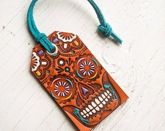Sugar Skull Leather Tag - Luggage Tag - Pick your suede lace color - Mexicali - Day of the Dead