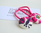 Pair of Ponytail Holders - Flower + Dragonfly
