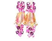 Pink & Purple Tulip Earrings, Flower Earrings, Lampwork Earrings, Glass Bead Earrings, Dangle Earrings, Beaded Earrings, Beadwork Earrings