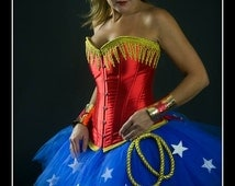 SIMPLY WONDERFUL Wonder Woman Inspired Tutu and Corset Adult Costume with Lariat, Wrist Cuffs and Tiara - S-XXL