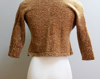 SALE vintage cheetah print crop sweater // brown tan short wool cardigan jacket